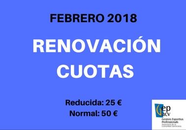 RENOVACIÓN CUOTAS 2018